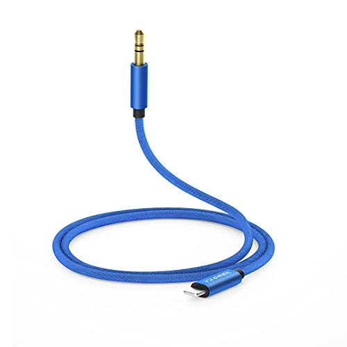 sunshot 3.5mm Aux Audio Cable iPhone AUX Cord for Playing Music with Car Stereo, Headphone or Speaker, Compatible with iPhone 12/11/SE/XS/XR/X8/7 or iPad Pro/Air etc. (Blue)