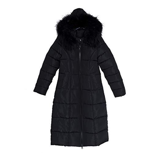 Woman Lange Ultraleichte Puffer Jacke Damen Daunenjacke Skijacke mit Kunstfellbesatz Kapuze Gr. 52, Schwarz