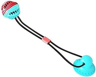 LAIYYI hund tandborste tuggleksaker boll, bettbeständig gummi boll matdispenser IQ leksak med sugkopp, hund tandvård tände...