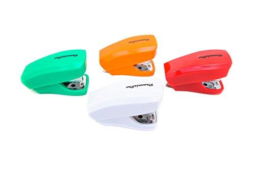 PraxxisPro Stapler Set, Mini Staplers, Built-In Staple Remover, Set of 4 (Red, White, Orange, Green)