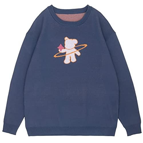 Harajuku damski sweter z dzianiny Sweterek Vintage Cartoon Niedźwiedź żakardowe Kontrast Kolor Gruba dzianina (Color : Navy Blue, Size : M)