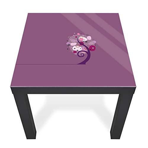 banjado Glasplatte für IKEA Lack Tisch 55x55cm | Abdeckplatte aus Sicherheitsglas | Motiv Lila Baum | Tischplatte für Beistelltisch, Couchtisch schwarz Glasplatte & Tisch