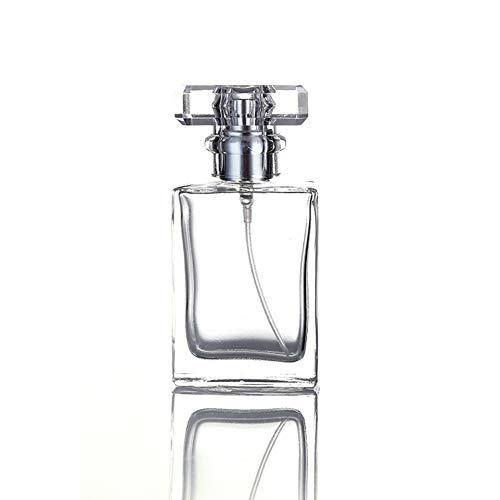 30ML Glass Refillable Perfume Bottle, Portable Square Cologne Empty Atomizer Bottle for Travel (Transparent)