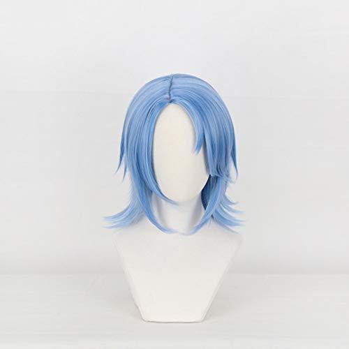 Anime Kingdom Hearts Iii Aqua Cosplay peluca corta azul pelo de fibra resistente al calor Halloween carnaval disfraz juego de rol pelucas Kumz3629