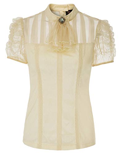 Retro Gothic Lace T-Shirt Tops Kurze Hauch Hülse Steampunk Bluse Beige Größe XXL