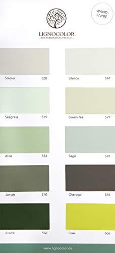 Lignocolor Wandfarbe Farbtonkarte EINZELN Echtaufstriche nach Farben sortiert (Grüntöne)