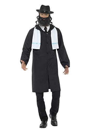 Smiffys 44689L Herren Rabbiner Kostüm, Jacke, Schal, Hut und Bart, Größe: L, 44689
