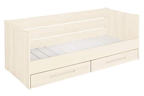 BioKinder functionele bedbank stapelbed met lattenbodem en 2 bedladen Lina van massief hout grenen 90 x 200 cm wit geglazuurd