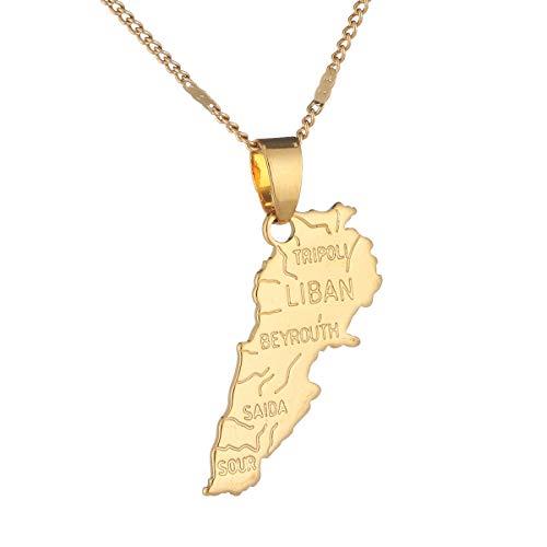 BR Gold Jewelry Halskette mit Libanon-Karte-Anhänger, Goldfarben, Schmuck, Libanenkarte Libanen, Patriotische Schmuckgeschenke