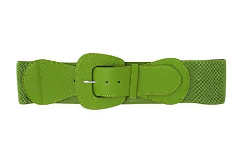 Retro Vintage Chunky Buckle Elastic Wide Stretch Waist Belt (Matcha Tea Green)