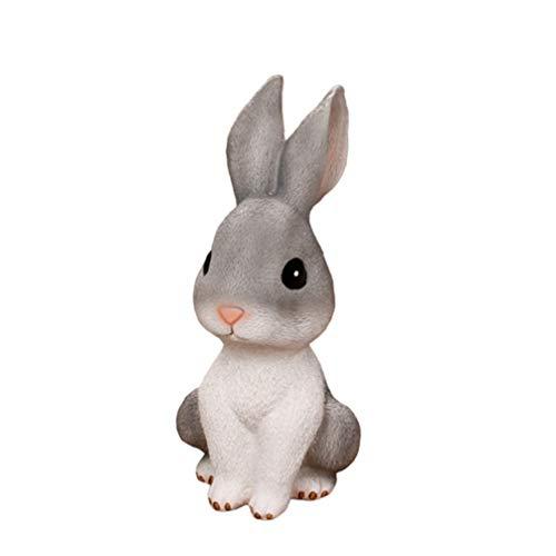 WINOMO Kaninchen Sparschwein Cartoon Kaninchen Sparglas Hase Sparbüchse Topf Münzbank Kleingeld Veranstalter Kaninchen Figur für Kinder Ostergeschenk S Grau