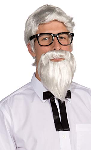 Forum Novelties mens Forum Southern Colonel and Beard Costume Wig, White, One Size US
