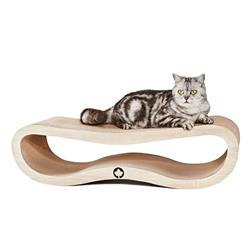 CanadianCat Company ® | Kratzbrett Orbit | Natur | Kratzmöbel, Lounge für Katzen | Kratzpappe + Katzenminze | ca. 84 x 24 x 23cm