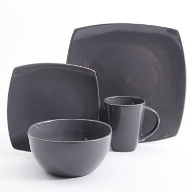 Gibson Home Soho Lounge Square Stoneware 16-piece Dinnerware Set - Gray