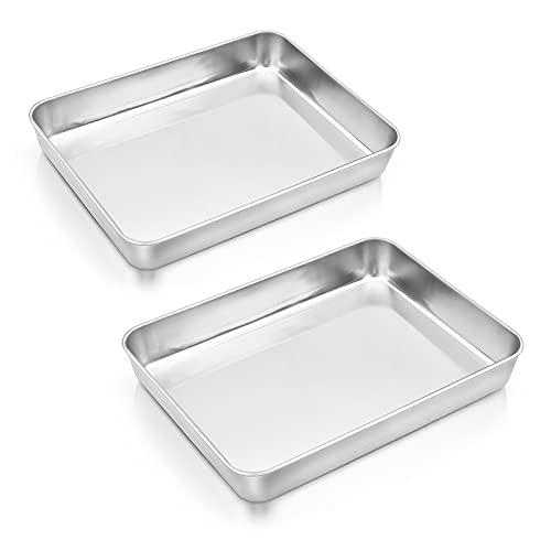 Baking Pan Set of 2, E-far 12.4' x 9.6' x 2' Stainless Steel Rectangular Cake Pans, Deep Baking Sheet Pan for Brownies, Lasagna and Casseroles, Non-toxic & Healthy, Brushed Finish & Dishwasher Safe