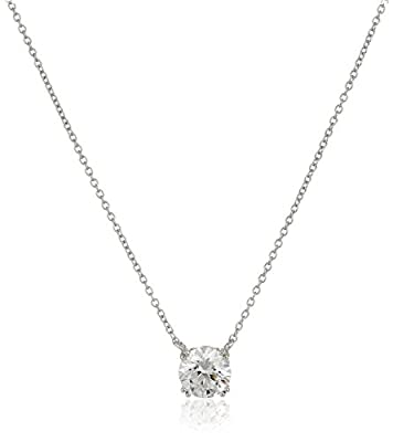 """Platinum Plated Sterling Silver Solitaire Pendant Necklace set with Round Cut Swarovski Zirconia (2 cttw), 18"""""""
