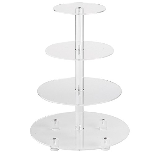 YestBuy 4 Tier Clear Round Wedding Party Acrylic Cupcake Display Tree Tower Stand 1 Unit (16.3 Inches)