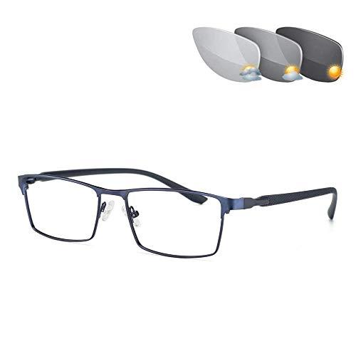 Gafas De Sol De Lectura para Hombres Polarizadas con Bloqueo Azul, Lentes Que Cambian De Color, Gafas, Gafas De Lectura,Azul,+2.00