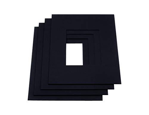 LIVINGTREE® 2 paspartú negro, calidad de museo, 1,5 mm de grosor, borde de corte de 45°, fabricado en Alemania (tamaño exterior: 30 x 45 cm/tamaño interior: 20 x 30 cm)