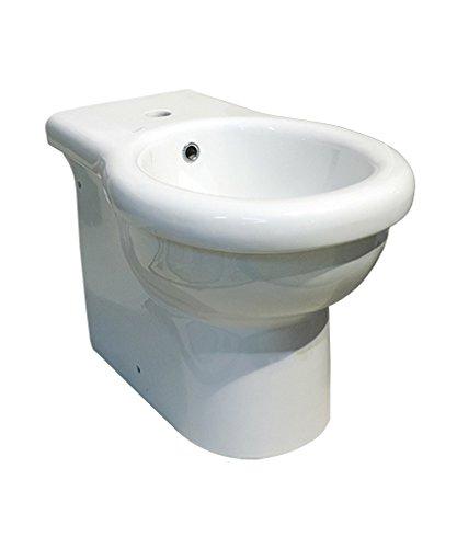Sanitari bagno bidet filo muro a terra, Kerasan Volant, ceramica bianca