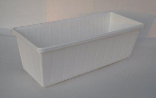 Prosperplast Jardinière de balcon en plastique Blanc 40 cm