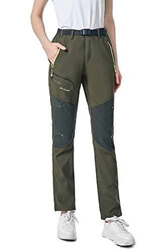 shine future Damen Wanderhose Outdoorhose Wasserdicht Trekkinghose Winddicht funktional mit Gürtel Zip Off Funktionshose(Green,Large