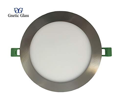 Panel GNETIC GLASS Foco LED Downlight 12W Empotrado Oculto Slim Redondo Gran Ángulo 120˚ (960LM 168X20MM, 6000K) Resistencia al Agua IP20, No Regulable
