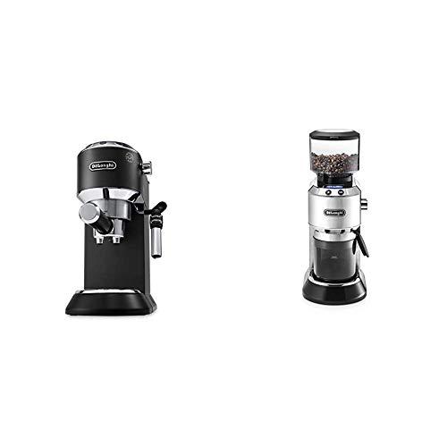 De'Longhi Dedica Style Traditional Pump Espresso Machine (Black) and Coffee Grinder Bundle (Silver)