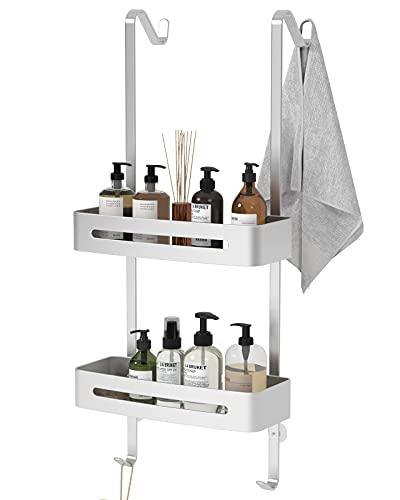TZAMLI Duschablage ohne Bohren, Duschregal zum Hängen der Duschwand Badregal Badezimmer Regal mit Handtuchhalter & Saugnapf (Silber, 2 Ebenen)