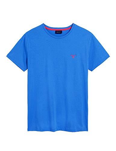 Gant - Uomo Maglia T-Shirt Azzurro Tinta Unita 254111 424 Palace Blue - 29345 - S