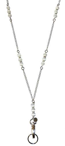 "Hidden Hollow Beaded Chain Lanyard, 34"" Made in USA, ID Badge Holder, Women's Fashion Lanyard (Beaded Chain White - Non Breakaway - Stronger)"