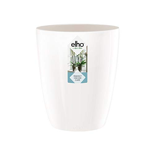 Elho 8141561315001 Brussels Diamond Orchid High Flowerpot, 12.5 cm, White
