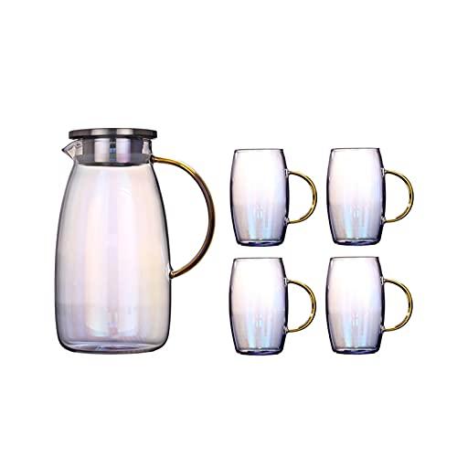 Jarra de vidrio con tapa, fácil de limpiar, resistente al calor, jarra de vidrio borosilicato para zumo, leche, bebidas frías o calientes (color: B, tamaño: 3)