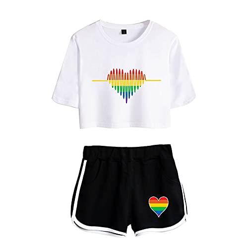 JIYINJIA Mujer LGBT Gay Pride Crop Top + Shorts 2 Piezas Conjunto Deportivo Rainbow Corazón Impreso Camiseta y Pantalones Cortos Verano Pijama Set Outfit Casual Ropa Deportiva