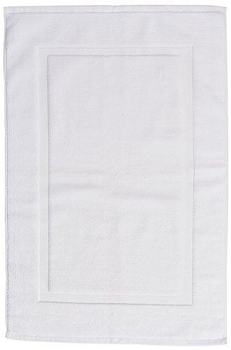 Amazon Basics Banded Bathroom Bath Rug Mat - 20 x 31 Inch, White, Pack of 4