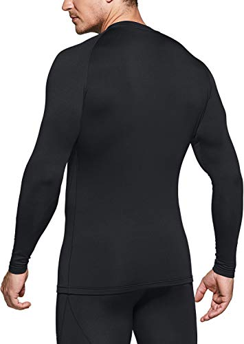 TSLA Men's Thermal Long Sleeve Compression Shirts, Athletic Base Layer Top, Winter Gear Running T-Shirt, Thermal Athletic(yud34) - Navy, XX-Large