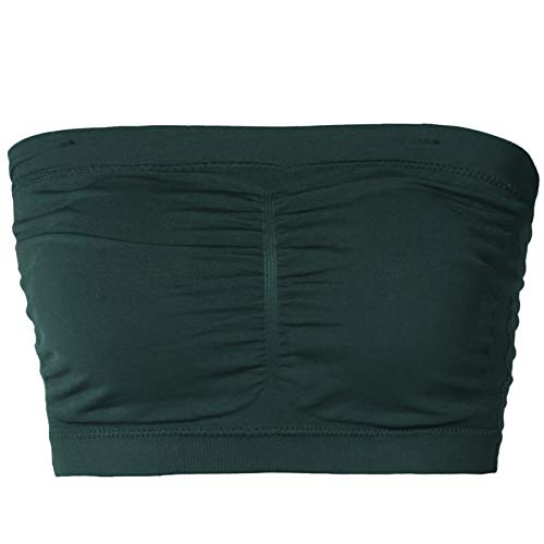 TheMogan Junior's Seamless Removable Pad Bandeau Layering Bra Top Hunter Green ONE Size