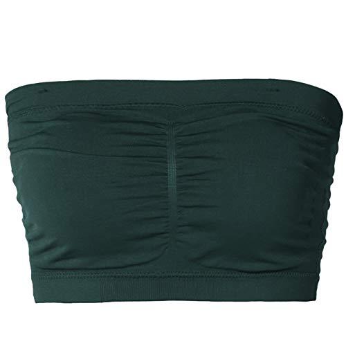 TheMogan Junior's Seamless Removable Pad Bandeau Layering Bra Top Hunter Green 2X/3X