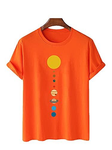 Camiseta Hombres Verano Casual Cuello Redondo Patrón Dibujos Animados Hombres Streetwear Transpirable Elasticidad Suelta Hombres Shirt Deportiva Fiesta Hombres Manga Corta L-Orange L