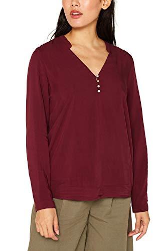 ESPRIT Damen 089Ee1F025 Bluse, Rot (Bordeaux Red 600), (Herstellergröße: 38)