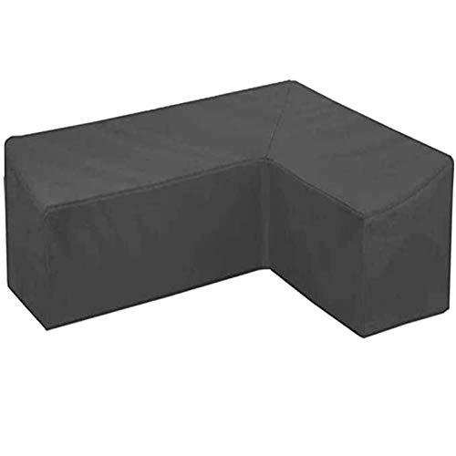 FUSHOU-Funda Muebles Jardin, Cubiertas de esquina para muebles de jardín en forma de L Funda de sofá para exteriores, 420D Juego de protección de sofá impermeable de tela Oxford resistente, negro