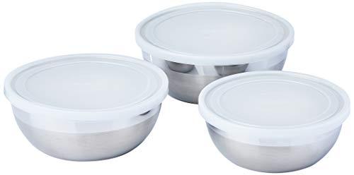Jogo de Potes em Aço Inox com Tampa Plástica com 3 Peças Tramontina Freezinox Prata Aço Inox