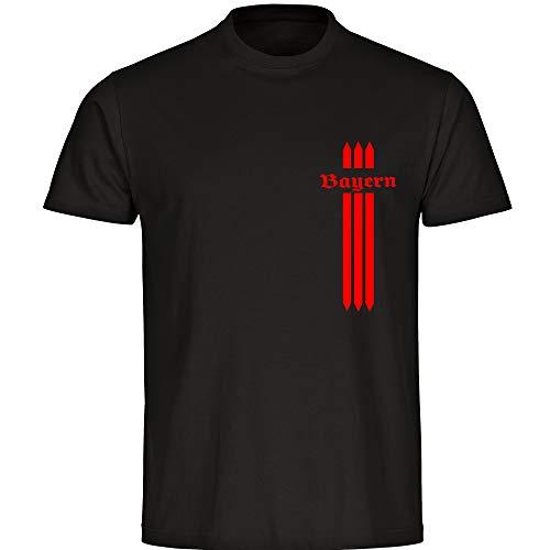 T-Shirt Bayern Streifen schwarz Herren Gr. S bis 5XL - Bayern Fußball München Fanartikel, Größe:XXXXXL