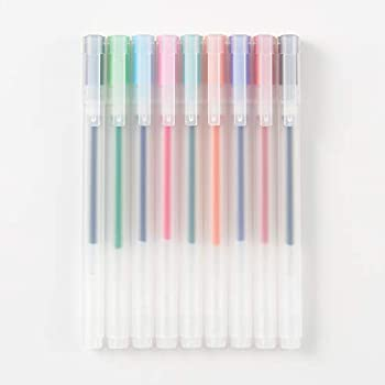 Muji Gel Ink Ballpoint Pen Cap Type 9-Pieces Set 0.38 mm Nib Size