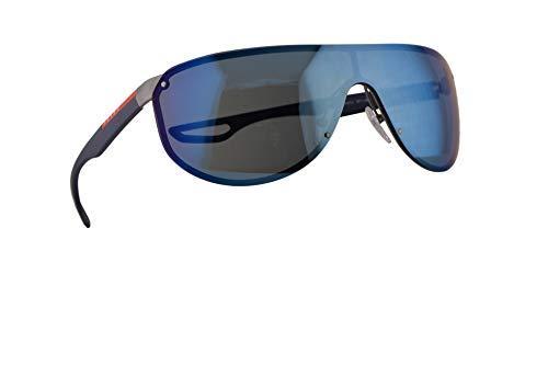 Prada SPS 61US Sonnenbrillen Silber Gummi Mit Blauen Verspiegelten Gläsern 40mm 9P19P1 PS 61US PS61US SPS61U