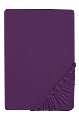 #27 biberna Jersey-Stretch Spannbettlaken, Spannbetttuch, Bettlaken, 90x190 – 100x200 cm, Violett