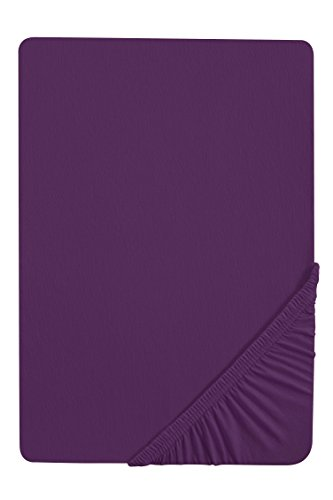 biberna 0077144 Spannbetttuch Feinjersey (Matratzenhöhe max. 22 cm) 1x 180x200 cm > 200x200 cm, dunkelviolett