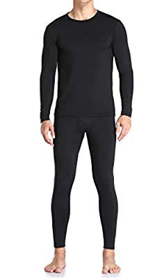 Thermal Underwear for Men Ultra Soft, Long Johns Base Layer Fleece Lined, Active Mens Thermal Underwear Set with Top & Bottom ?Black L