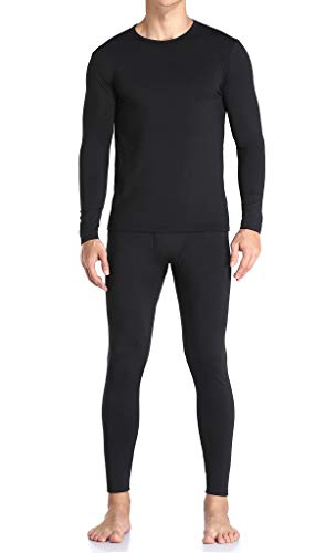 Thermal Underwear for Men Ultra Soft, Long Johns Base Layer Fleece Lined, Active Mens Thermal Underwear Set with Top & Bottom (Black L
