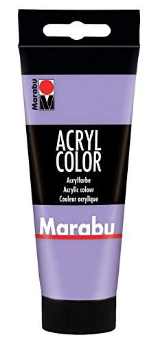 Marabu 12010050007 - Acryl Color lavendel 100 ml, cremige Acrylfarbe auf Wasserbasis, schnell trocknend, lichtecht, wasserfest, zum Auftragen mit Pinsel und Schwamm auf Leinwand, Papier und Holz